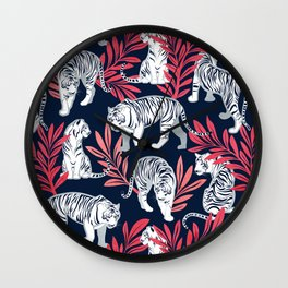 Nouveau white tigers // navy blue background red leaves silver lines white animals Wall Clock
