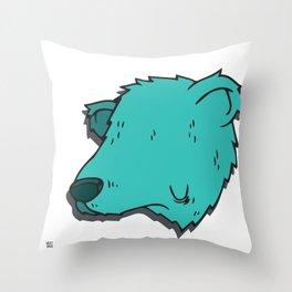 Green Bear Throw Pillow