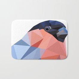 Geometric  bullfinch burd art Pink gray Bath Mat