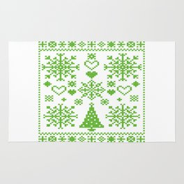 Christmas Cross Stitch Embroidery Sampler Green And White Rug