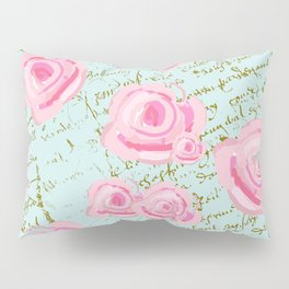 Pink  Roes and French Script Pillow Sham