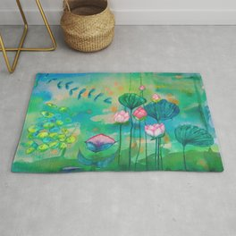 Green water lilies and pink lotus flowers Rug