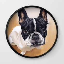 French Bulldog Gouache Artwork Wall Clock