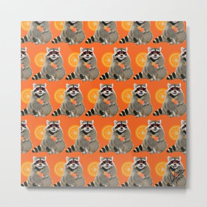 Cool raccoon pattern Metal Print