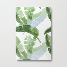 Tropical Leaves Green And Blue Metal Print