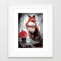 kitsune Framed Art Prints featuring Kitsune by Carrion House
