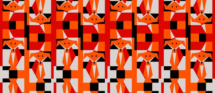 Geometric Dancing Foxes Coffee Mug