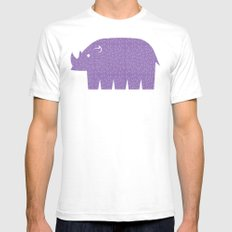 Fun at the Zoo: Rhino White Mens Fitted Tee SMALL