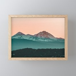 Grainy Sunset Mountain View // Textured Landscape Photograph of the Beautiful Orange and Blue Skies Framed Mini Art Print