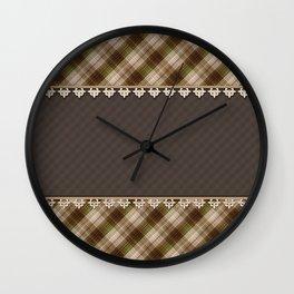 Brown plaid, plaid blanket, brown pattern, patchwork, folklore, rustic style, elegant pattern, plaid Wall Clock