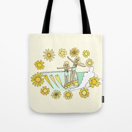 surfs up little ones // retro surf art by surfy birdy Tote Bag