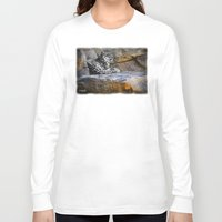 snow leopard Long Sleeve T-shirts featuring Snow Leopard by Jennifer Rose Cotts Photography