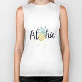 Aloha lettering and pineapple Biker Tank