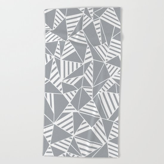Abstract Lines B Grey Beach Towel