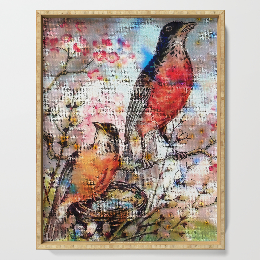 A Robin Redbreast Morning Serving Tray by tammera (DST9496762) photo