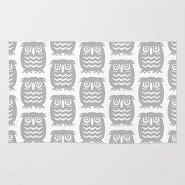 Mid Century Owl Pattern Grey Rug