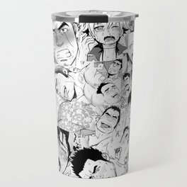 Ahegao Hentai Manga Guys Collage in B&W (Bara/Doujinshi) Travel Mug