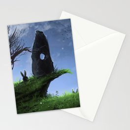Hares - Green Stationery Cards