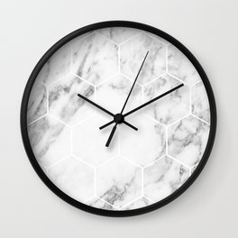 White marble hexagonal beehive Wall Clock