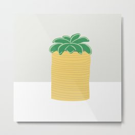 Succulent Plant in Yellow Tin Can Metal Print