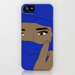 Woman in Blue Hijab in Morocco Head Scarf Hijabi iPhone Case