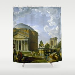 Fantasy View with the Pantheon and other Monuments of Ancient Rome Shower Curtain