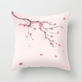 Oriental cherry blossom in spring 002 Throw Pillow