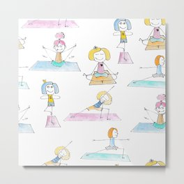 Seamless set Funny watercolor drawing of a happy girls in the yoga positions. Metal Print