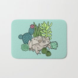 Toad with Succulents - Turquoise Bath Mat