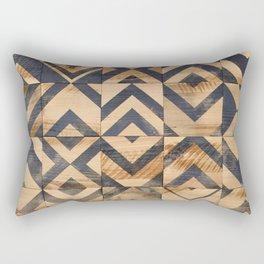 Chevron Scatter Black and Wood Rectangular Pillow
