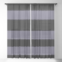 VA Mystical Purple - Metropolis Lilac - Dried Lilacs Hand Drawn Fat Horizontal Lines on Black Sheer Curtain