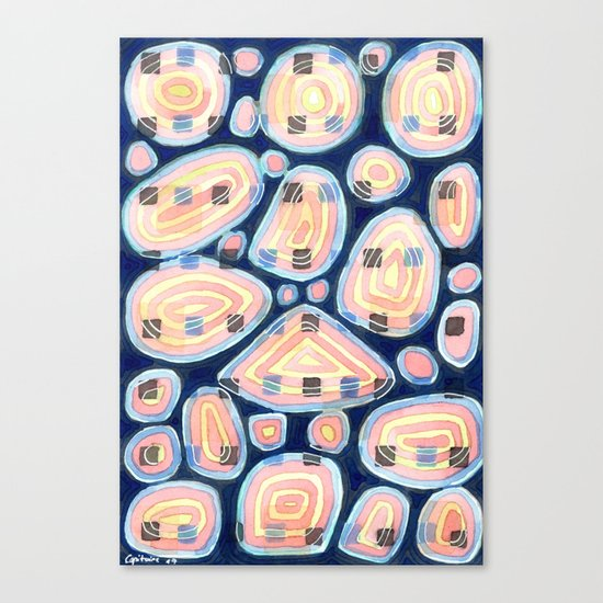 Woven Squares and Round Shapes Pattern Canvas Print
