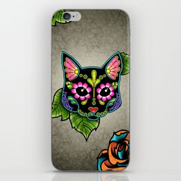 Black Cat - Day of the Dead Sugar Skull Kitty iPhone Skin