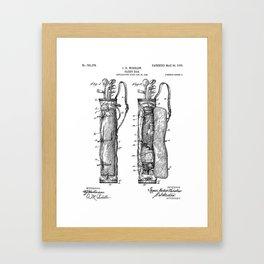 Golf Bag Patent - Caddy Art - Black And White Framed Art Print