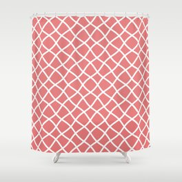 Coral and white curved grid pattern Shower Curtain