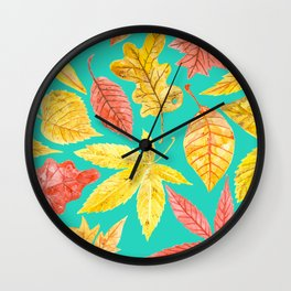 Autumn leaves watercolor teal Wall Clock