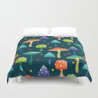 mushrooms Duvet Covers featuring Mushrooms by Julia Badeeva