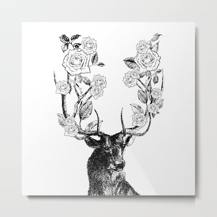 The Stag and Roses | Black and White Metal Print