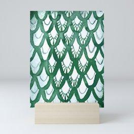 Watercolor Scale Pattern (Antique Green) Mini Art Print