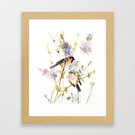 Sparrows and Spring Blossom Framed Art Print