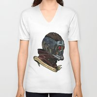 star lord V-neck T-shirts featuring Star Lord Legendary Outlaw by Victoria Jennings
