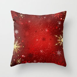 Red Background with Gold Snowflakes Throw Pillow