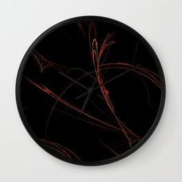 Red Black Fractal Wall Clock