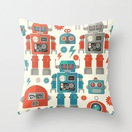 Retro Space Robot Seamless Pattern Throw Pillow