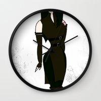 powerpuff girls Wall Clocks featuring PowerPuff Jun by auroranq