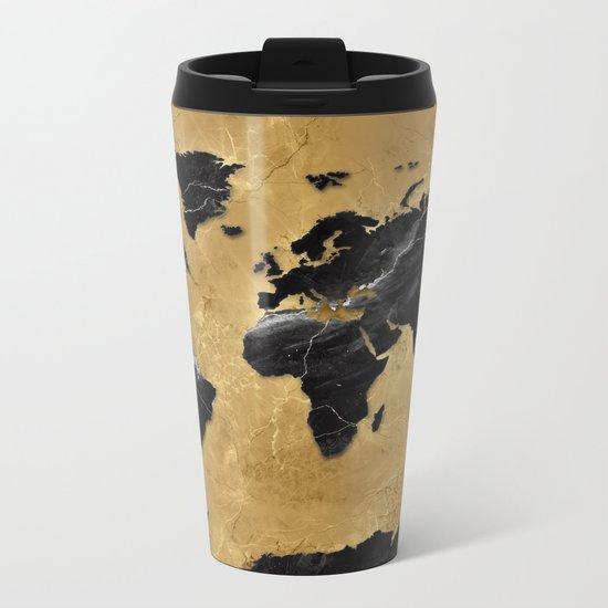world map marble gold 2 Metal Travel Mug