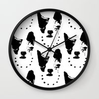 frenchie Wall Clocks featuring Frenchie! by oma!