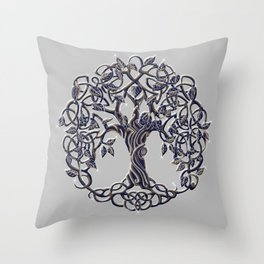 Tree of Life Silver Throw Pillow