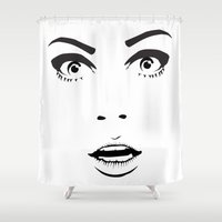 60s Shower Curtains featuring 60s Chick by HayPaige