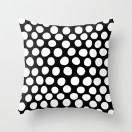 White Organic Dots on Black Throw Pillow